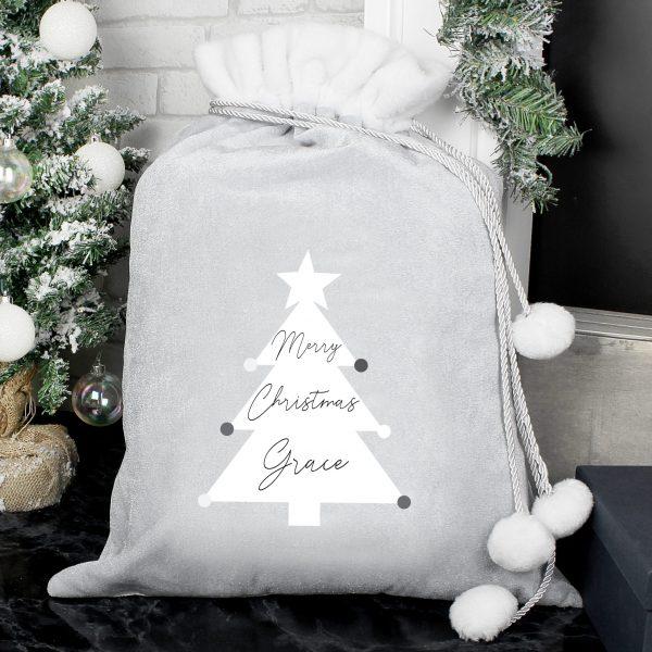 Personalised Grey Christmas Sack