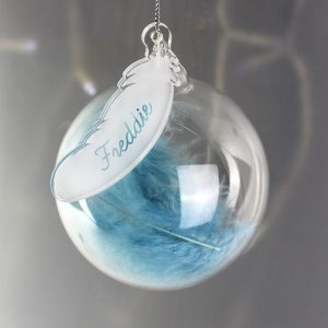 Personalised Blue Feather Glass Bauble