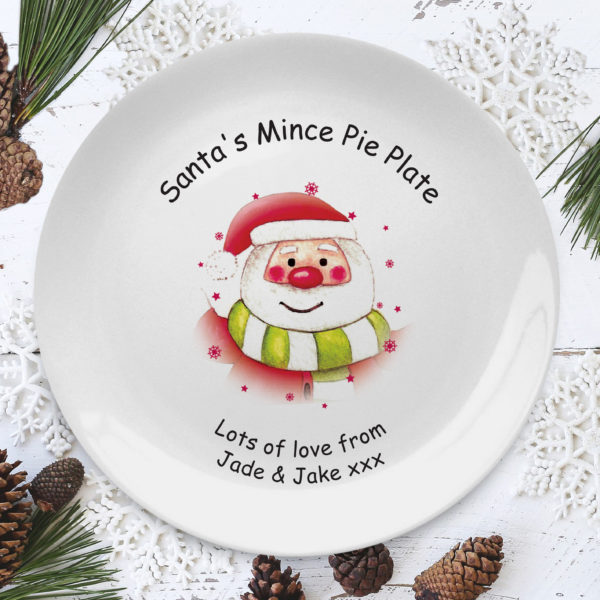 Santa & Stars Mince Pie 8″ Coupe Plate