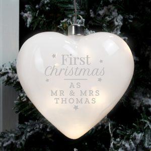 Personalised 1st Christmas LED Heart