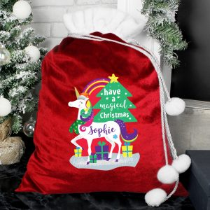 Christmas Unicorn Luxury Pom Pom Red Sack