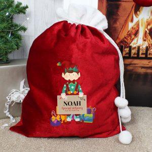 Christmas Elf Luxury Pom Pom Red Sack