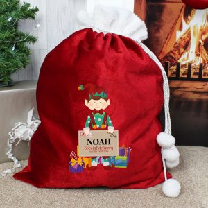 Christmas Elf Luxury Pom Pom Red Sack