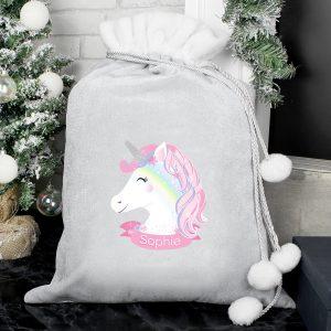 Christmas Unicorn Luxury Pom Pom Sack
