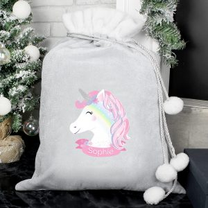 Christmas Unicorn Luxury Pom Pom Sack