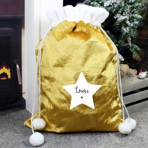 Personalised Gold Sack with Star