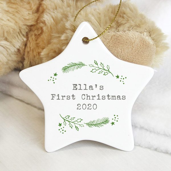 Personalised Christmas Holly Ceramic Star Decoration