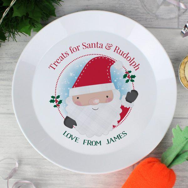 Santa Christmas Mince Pie Plastic Plate