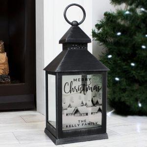 Personalised Town Christmas Rustic Lantern