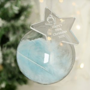 Personalised Free Text Blue Feather Glass Bauble With Star Tag