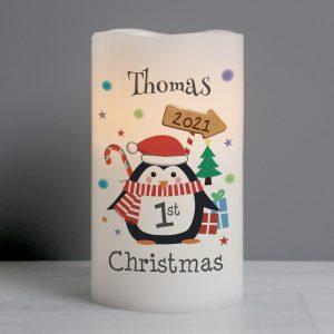 Personalised 1st Christmas Penguin LED Candle